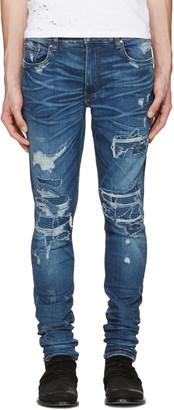 Amiri Indigo Skinny MX1 Patch Jeans $1,250 thestylecure.com