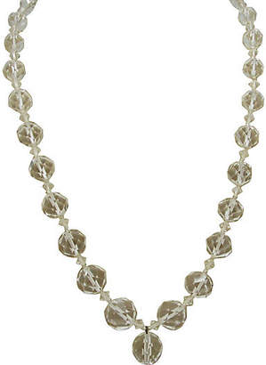 One Kings Lane Vintage Art Deco Faceted Glass Necklace with Drop