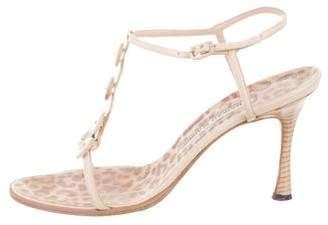 Manolo Blahnik T-Strap Slingback Sandals