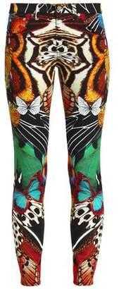 Roberto Cavalli Printed Low-Rise Skinny Jeans
