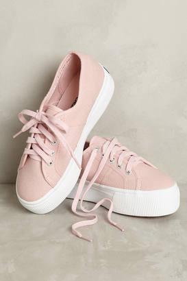 Superga Pink Canvas Platform Sneakers $78 thestylecure.com