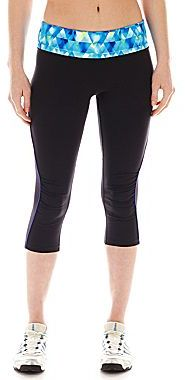 JCPenney Xersion Fitted Shirred Side-Inset Capris