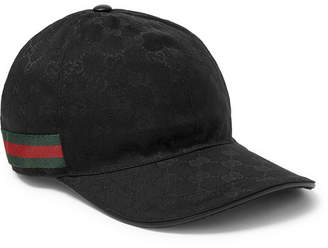 60574193ce6 Gucci Webbing-Trimmed Monogrammed Canvas Baseball Cap