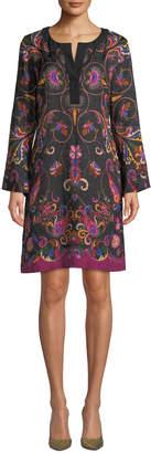 Etro Long-Sleeve Floral-Matelasse Caftan Dress