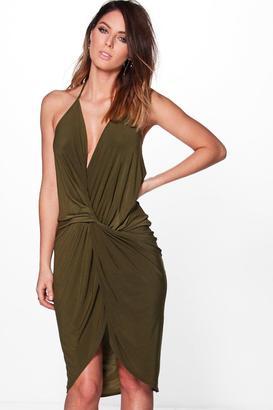 boohoo Devin Strappy Knot and Drape Midi Dress $32 thestylecure.com
