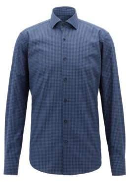 BOSS Hugo Italian-made shirt in cotton poplin geometric print 15 Open Blue