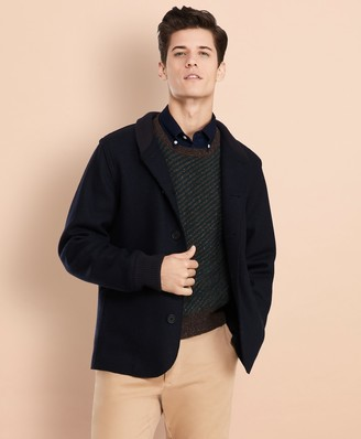 Brooks Brothers Wool-Blend Jersey-Knit Baseball Jacket