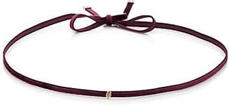 Finn Women's White Diamond Silk Velvet Ribbon Choker