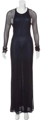 Salvatore Ferragamo Long Sleeve Mesh Maxi Dress