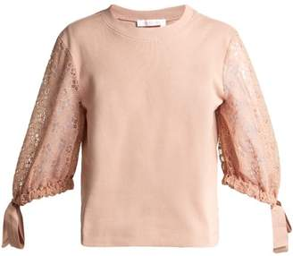 See by Chloe Lace Sleeve Cotton Top - Womens - Light Pink