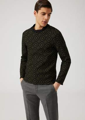 Emporio Armani Jersey Sweater With Devore Rhombus Pattern