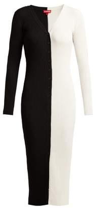 Staud - Shoko Panelled Rib Knitted Dress - Womens - Black White