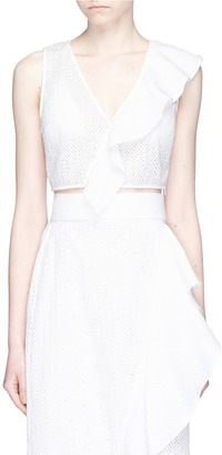 Marysia 'Seahaven' ruffle broderie anglaise cropped top $285 thestylecure.com