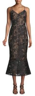 Marchesa Guipure Lace Midi Dress