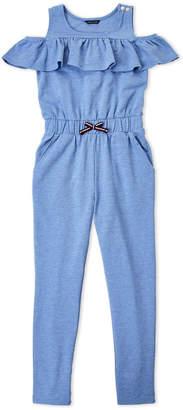 Tommy Hilfiger Girls 7-16) Blue Flutter Cold Shoulder Jumpsuit