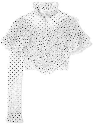 Rodarte Cropped Ruffled Polka-dot Flocked Tulle Blouse - White