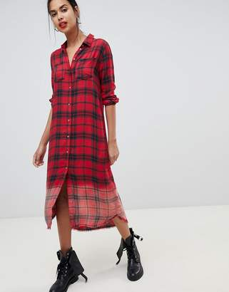 Only maxi dip dye check shirt dress