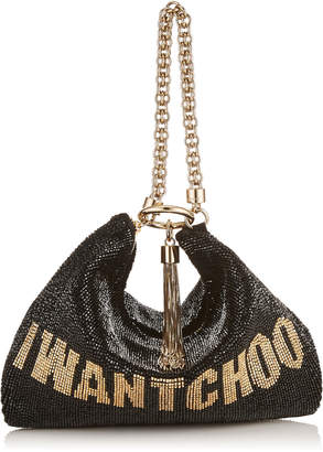 Jimmy Choo CALLIE Black and Gold I WANT CHOO Beaded Embroidery Clutch Bag