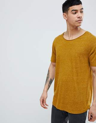 Asos Design Relaxed Longline T-Shirt With Raw Scoop Neck And Curve Hem In Linen Mix In Green