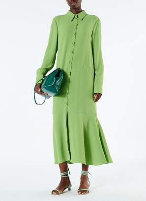 Tibi Spring Triacetate Maxi Shirtdress