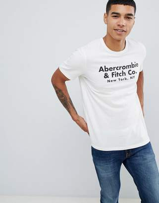 Abercrombie & Fitch address logo print t-shirt in white