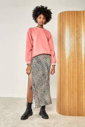Rag Doll Ragdoll MIDI SKIRT WITH SLIT Pink Leopard
