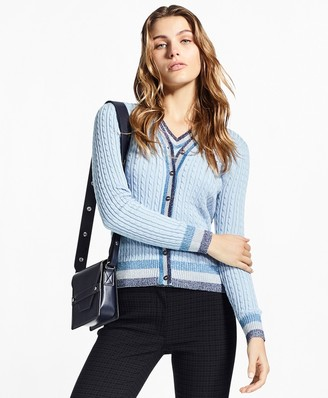 Brooks Brothers Shimmer-Stripe Cable-Knit Supima Cotton Cardigan
