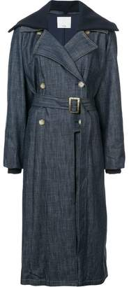 Tibi belted denim trench coat