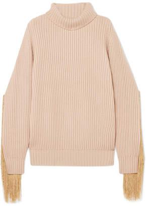 BEIGE Hillier Bartley - Fringed Ribbed-knit Cashmere Turtleneck Sweater