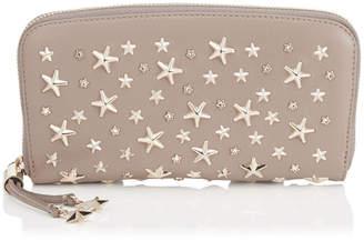 Jimmy Choo FILIPA Light Mocha Leather with Crystal Stars Zip Around Wallet