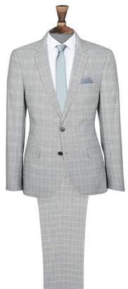 Mens Multi Pow Check Slim Fit Suit Jacket