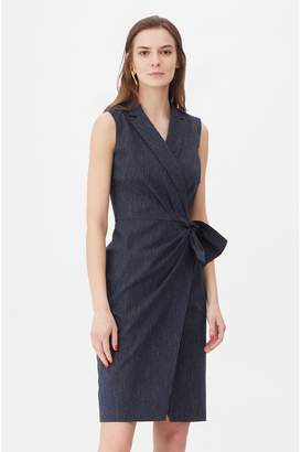 Rebecca Taylor Tailored Pinstripe Suiting Wrap Dress