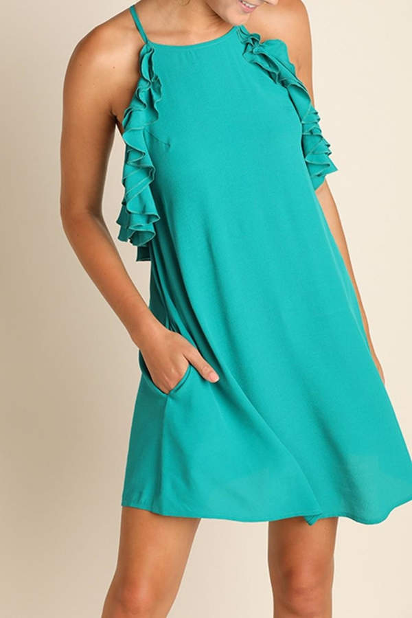 Umgee USA Sleeveless Ruffled Dress