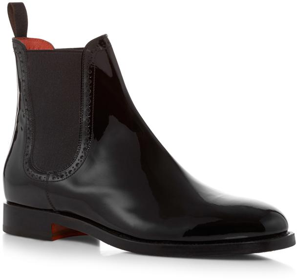 santoni patent leather chelsea boots shopstyle. Black Bedroom Furniture Sets. Home Design Ideas