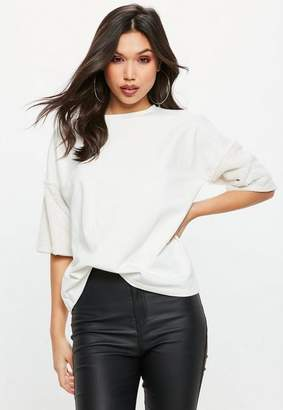 Missguided Cream Faux Fur Short Sleeve Sweatshirt
