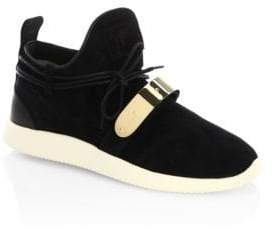 Giuseppe Zanotti Single Bar Suede Slip-On Sneakers