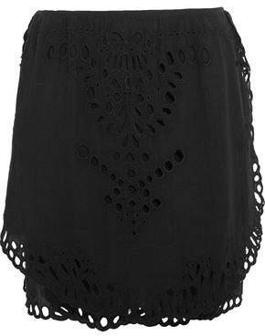 IRO Layered Broderie Anglaise-Trimmed Gauze Mini Skirt