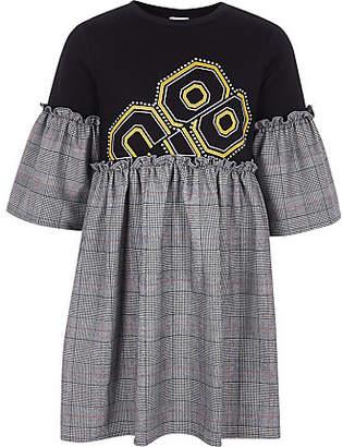 River Island Girls Black check embellished T-shirt dress