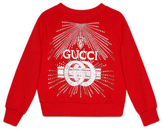 Gucci Logo Buckle-Print Sweatshirt w/ Crystal Detail, Size 4-10