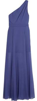 Halston One-Shoulder Pleated Chiffon Gown