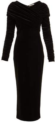 Christopher Kane Gathered Stretch Velvet Dress - Womens - Black