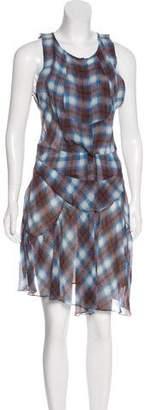 Etoile Isabel Marant Plaid Print Silk Dress