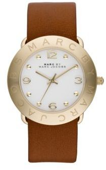 Marc by Marc Jacobs Amy Goldtone Stainless Steel & Leather Strap Watch $175 thestylecure.com