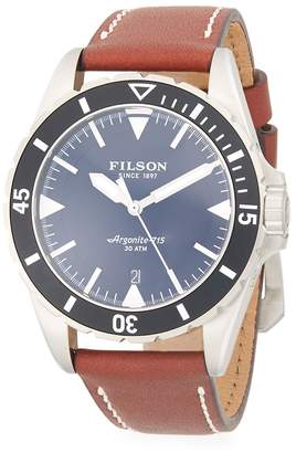 Filson Men's Dutch Harbor Stainless Steel & Leather-Strap Watch