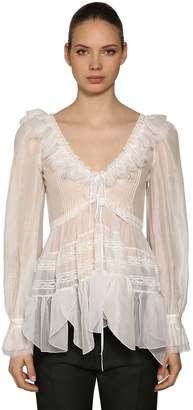 DSQUARED2 Ruffled Cotton Voile Blouse
