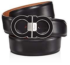 Double Gancini Leather Belt