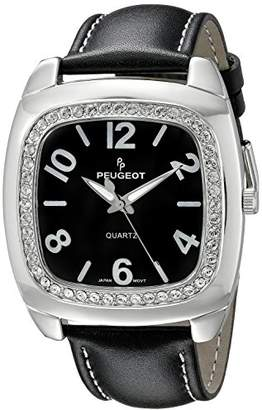 Peugeot Women's 310BK Silver-Tone Swarovski Crystal Accented Black Leather Strap Watch