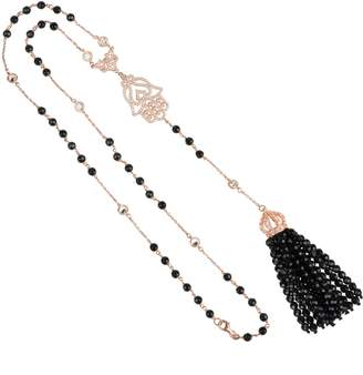 Rosegold Latelita London - Tassel & Hamsa Necklace Black Onyx