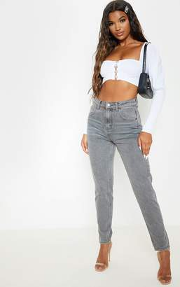 PrettyLittleThing Washed Grey Mom Jeans