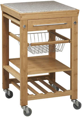 Asstd National Brand Small Space Bamboo Rolling Kitchen Cart with Granite Top